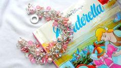 Cinderella Inspired Sparkling Pink & Crystal Carriage charm beaded bracelet £12.00