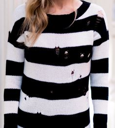 Distressed Rugby Stripe Tunic Sweater at Yael Steren Store | Lookave - #stripes #tunic #sweater #sweatshirt #blackandwhite #black #white #ootd #onlineshopping #lookave #onlineshopping #streetstyle #style #fashion #outfit @yaelsteren