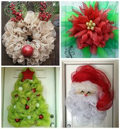deco mesh wreaths I love homemade wreaths for Christmas time! Especially these decorative mesh ones which make your front door unique instead of the traditional green ones! Deco Mesh Crafts, Wreath Crafts, Diy Wreath, Holiday Crafts, Wreath Ideas, Santa Wreath, Tulle Wreath, Wreath Making, Mesh Christmas Tree