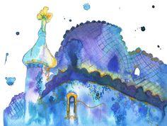 Watercolor Travel Illustration - Barcelona and Me print. $25,00, via Etsy.