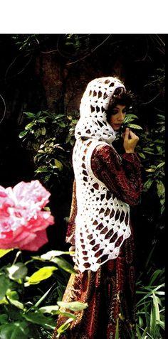 "Vintage 70's Crochet Hooded ""COBWEB"" Waistcoat - PDF Pattern - UK"