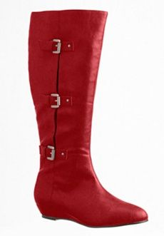 Roamans Plus Size Kayleigh Wide-Calf Knee-High Boots with Side Buckles (CLARET SUEDE,7 1/2 M) $124.99