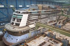 Quantum of the Seas build photo from gallery at http://www.royalcaribbeanpresscenter.com/ship/27/quantum-of-the-seas/2/images/#1