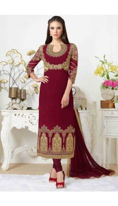 Maroon Georgette Churidar suit online   http://www.andaazfashion.co.uk/salwar-kameez/churidar-suits