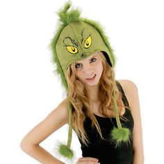 Dr. Seuss Grinch Hoodie Adult Hat ($22) ❤ liked on Polyvore featuring accessories and hats