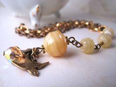 Butterscotch bracelet with vintage Japanese lampwork glass