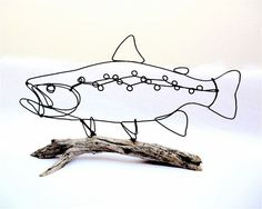 Awesome Trout Wire Sculpture by Bud Bullivant