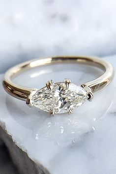 East West Marquise Diamond Solitaire Engagement Ring in Rose Gold Marquis Engagement Rings, Leaf Engagement Ring, Alternative Engagement Rings, Designer Engagement Rings, Engagement Rings Minimalist, Perfect Engagement Ring, The Bling Ring, Bling Bling, Gold Wedding Rings