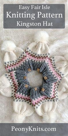 Kingston Hat Knitting Pattern – The Best Ideas Loom Knitting, Free Knitting, Baby Hats Knitting, Knitting Needles, Fair Isle Knitting Patterns, Crochet Patterns, Motif Fair Isle, Kingston, Knitted Hats