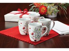 4-pc. Hoot's Decorated Tree Mug Set by Rachael Ray at Cooking.com