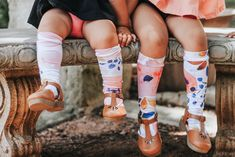 Toddler knee high socks are the perfect way to match siblings!