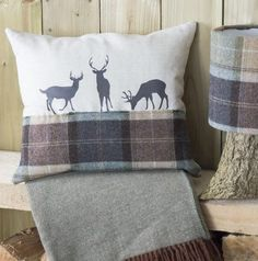 ' Deer Family ' Tweed Cushion