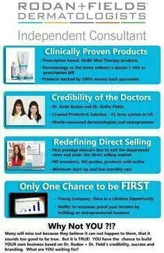 Anyone interested in making an extra income stream, paying off debt, a shameless shoe fund, starting a college fund or an entirely new career? I am looking for people to represent a new skincare line by Dr Rodan and Dr Fields,  the two dermatologists who created Proactiv for acne.  They are now taking on the $3.2 billion anti-age market. This is part-time with flexible hours and you can work around busy schedules like a full time job or family. No hosting parties or handling inventory. 100%…