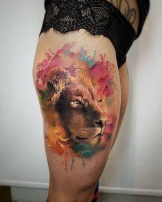 graceful lion portrait tattoo on girls thigh best tattoo design Leo Tattoos, Animal Tattoos, Body Art Tattoos, Sleeve Tattoos, Portrait Tattoos, Unique Tattoo Designs, Unique Tattoos, Beautiful Tattoos, Tattoo Girls