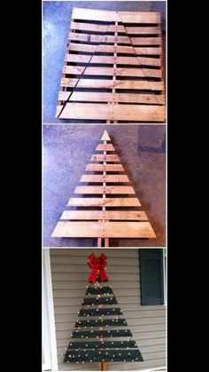 20 Impossibly Creative DIY Outdoor Christmas Decorations - New Ideas Christmas Yard Art, Pallet Christmas Tree, Outdoor Christmas Decorations, Homemade Christmas, Rustic Christmas, Christmas Projects, Holiday Crafts, Christmas Holidays, Pallet Tree