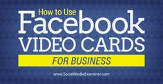 How to Use Facebook Video Cards for Business. Do you use your Facebook Profile for business? Want a quick and easy way to say thank-you? Facebook video cards make it easy to say thanks to clients, employees and business partners. In this article you'll discover four ways to use Facebook video cards to strengthen your professional relationships. for more info click @rapidoptimize.com http://www.socialmediaexaminer.com/facebook-video-cards-for-business/