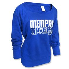 60% cotton 40% rayon french terry sweatshirt from Russell Athletic® brand features a wide crew neck great for that off shoulder look with 'Memphis Tigers', 'University of Memphis', and the 'M Tiger' logo screen printed across the front.