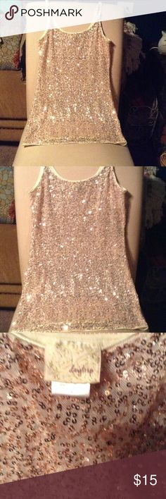 DAYTRIP sequin tank great condition DAYTRIP sequin tank with adjustable straps golden cream color in excellent condition wore once only great layering piece Daytrip Tops Tank Tops