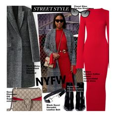 Win It! NYFW: Street Style by beebeely-look on Polyvore featuring Solace, WithChic, Reike Nen, Gucci, Chanel, StreetStyle, NYFW, contestentry, nyfwstreetstyle and NYFWPlaid