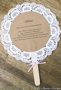 diy wedding decorations 814799757561849559 - doily wedding program fans, custom vintage-inspired wedding decor and accessories, handmade decor and accessories for life's special moments, Belle Amour Designs Source by lolottewine Wedding Crafts, Wedding Favors, Wedding Invitations, Invitations Online, Diy Wedding Fans, Photo Invitations, Invitation Cards, Wedding Blog, Wedding Rings