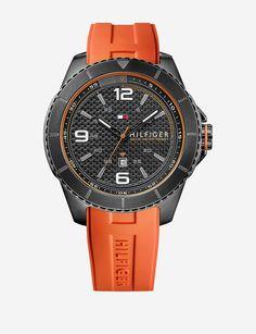 Tommy Hilfiger Orange Rubber Strap Watch – Men's