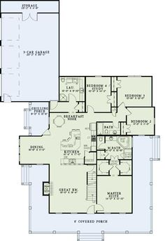 Country Style House Plans - 2173 Square Foot Home, 1 Story, 4 Bedroom and 3 3 Bath, 3 Garage Stalls by Monster House Plans - Plan 12-1245. Don't need 3 car garage