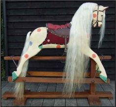 'Dotty' Large Vintage English 'Polychrome' Rocking Horse J Collinson