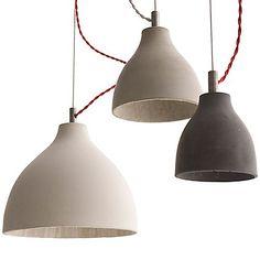 Concrete Heavy Light by Benjamin Hubert - modern pendant light shade Raku Pottery, Heavy And Light, Light In The Dark, White Light, Concrete Light, Concrete Lamp, Cement, Large Pendant Lighting, Pendant Lights