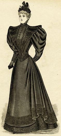 Ladies' Mourning Toilette ~ Free Victorian Clip Art (original scan)