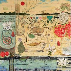 Marti Somers at Addington Gallery - Reservoir Love, oil and mixed media on wood panel, 40x4