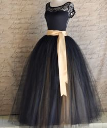 Full length black and gold tulle skirt for women by TutusChic. Click on photo for more information!