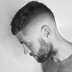 High Skin Fade + Crew Cut + Beard - Best Crew Cut Hairstyles For Men: Cool Short Crew Cut Haircuts with Fade and Undercut Sides Cool Mens Haircuts, Cool Hairstyles For Men, Popular Haircuts, Men Hairstyle Short, Men Haircut Short, Mens Fade Haircut, Short Haircuts For Men, Low Taper Fade Haircut, Men Haircut 2018