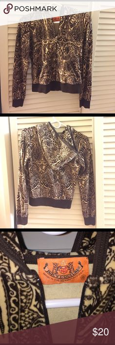 Juicy Couture velour hoodie zip up - brown Velour zip up hoodie with paisley print. Band bottoms and sleeve cuffs. Juicy Couture Sweaters Cardigans