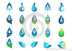 Fresh water drop logo,hand care garden,nature oil healthy plant,ecology and water symbol design icon set