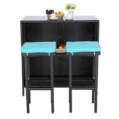 Do4U 3 Pieces Patio Bar Table Set All-Weather Outdoor Wicker Bar with 2 Storage Shelves Glass Top Table Cushioned Chairs for Poolside Backyard Balcony (Turquoise) *** You can get additional details at the image link.-It is an affiliate link to Amazon.
