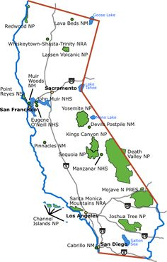 California Map with National Parks - National Park support from TopGovernmentGrants.com