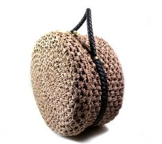 HUGE Vintage Walborg 1960s Round Raffia Purse Bag by PinkyAGoGo