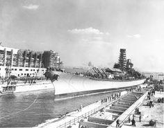 Battleship Iowa shortly after launching, New York Naval Shipyard. 1942