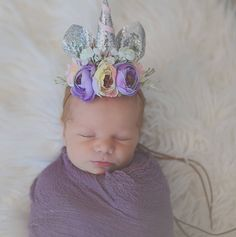 Silver Glitter Floral Unicorn Crown Tie Back Headband