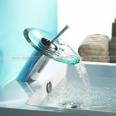 Glass Waterfall Bathroom Lavatory Faucet Mixer Tap 4001