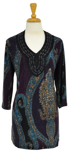 Purple Paisley Pattern Tunic~ Best selection of Tunics & matching accessories ~ Flat postage worldwide ~ Petite to Plus sizes ~ www.ilovetunics.com
