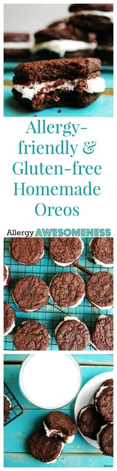 We LOVE these allergy friendly Oreos. All free of gluten, dairy, egg, peanuts and tree nuts. Gluten Free Cookies, Gluten Free Baking, Gluten Free Desserts, Vegan Desserts, Oreo Desserts, Vegan Cake, Vegan Baking, Vegan Meals, Cobbler