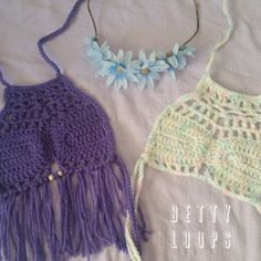 """""""Nothing a flower crown doesn't go with Colors: lavender & baby rainbow #bettyloops #pennycroptop #customcrochet #crochetaddict #etsy #etsyshop…"""""""