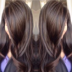 Superfine brunette babylights. Color by @colorbymimi #hair #hairenvy #haircolor…