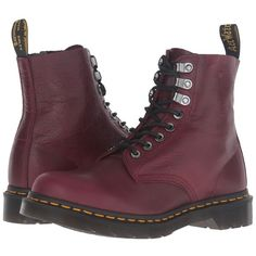 Dr. Martens Pascal PM 8-Eye Boot (Wine Naturesse) Women's Lace-up... (€135) ❤ liked on Polyvore featuring shoes, boots, lace up boots, laced up boots, leather boots, laced leather boots and dr martens shoes