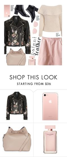 """""""City Slickers: Patent Leather (street style)"""" by beebeely-look ❤ liked on Polyvore featuring Topshop, Narciso Rodriguez, StreetStyle, patentleather, sammydress, leatherskirt and StreetChic"""