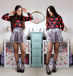 Get this look: http://lb.nu/look/7491674  More looks by Amelia  Breading: http://lb.nu/heartshapedrose  Items in this look:  The Yub Pixel Heart Sweatshirt   #edgy #grunge #preppy