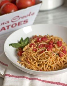 summer pasta with heirloom tomatos
