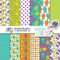 "Kids Digital Paper ""Silly Monsters"" - fun hand drawn seamless patterns in aqua blue, lime, purple, orange & yellow - commercial use"