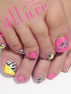 Diagonal Zebra Pink and Yellow pedi nails